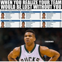 He leads them in every single category....... crazy!: WHEN YOU REALIZE YOURTEAM  WOULD BELOST WITHOUT YOU  2016-2017 Milwaukee Bucks Regular Season Leaders  Ports Rebounds Assists  Giannis Anterokounmpo  6.7  Nabat Parker  17.8  Greg Monroe  10,7  Malcolm Brogdon  MattOekavedova  10.2  John Henson  Greg Monroe  Blocks Steals Minutes  1.8  1.7  337  Malcolm Brogdon  Greg Monroe  0,8  1.5  Jabari Parker  0.8  0,7  1.3  Iony Sogell  John Henson  0.6  Jaban Parker  0.8  Malcolm Brogdon  21.00  ONBAMEMES He leads them in every single category....... crazy!