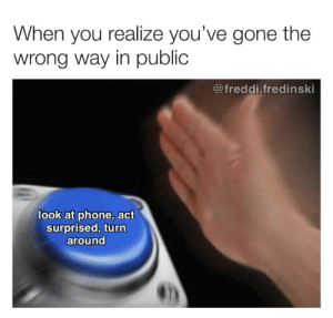 Important message via /r/memes http://bit.ly/2G9Y0jN: When you realize you've gone the  wrong way in public  @freddi.fredinski  look at phone, act  surprised, turn  around Important message via /r/memes http://bit.ly/2G9Y0jN