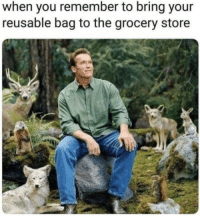 Remember, You, and Store: when you remember to bring your  reusable bag to the grocery store