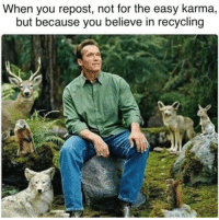 Karma, MeIRL, and Easy: When you repost, not for the easy karma,  but because you believe in recycling Meirl