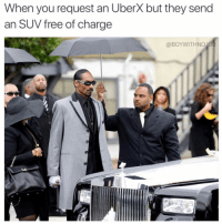 Bitch, Free, and Girl Memes: When you request an Uberx but they send  an SUV free of charge  @BOYWITHNO JO I am RICH BITCH!