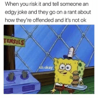 Funny, Sorry, and Okay: When you risk it and tell someone an  edgy joke and they go on a rant about  how they're offended and it's not ok  TENSILS  ası  oh okay Sorry I interrupted your bland universe with fun