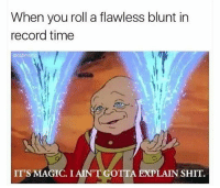 Funny, Lmao, and Shit: When you roll a flawless blunt in  record time  IT'S MAGIC. I AIN'T GOTTA EXPLAIN SHIT. Lmao NoChill