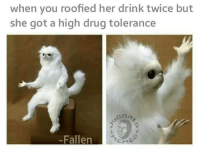 Roofy: when you roofied her drink twice but  she got a high drug tolerance  Fallen
