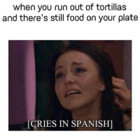 Why, God, WHY!?: when you run out of tortillas  and there's still food on your plate  CRIES IN SPANISH] Why, God, WHY!?