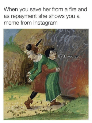 Fire, Instagram, and Meme: When you save her from a fire and  as repayment she shows you a  meme from Instagram  Back you go