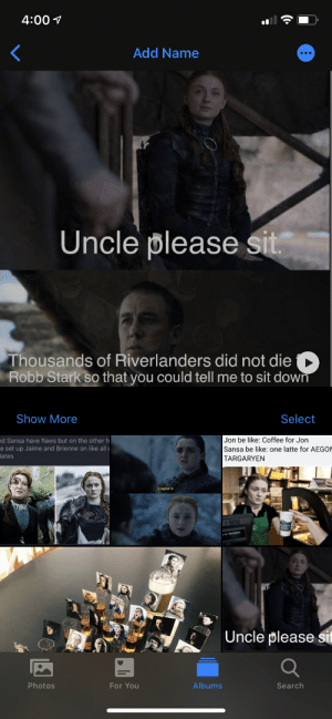 When you save too many FF memes on your phone and Apple starts thinking you know Sophie Turner: When you save too many FF memes on your phone and Apple starts thinking you know Sophie Turner