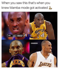 Finals, Nba, and Saw: When you saw this that's when you  knew Mamba mode got activated 2  NBA FINALS  @NBAMEMES  IAKERS Mamba mode activated.