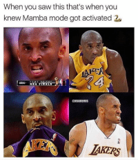 Abc, Finals, and Nba: When you saw this that's when you  knew Mamba mode got activated  abc NBA FINALS  @NBAMEMES  AKERS 😈😈
