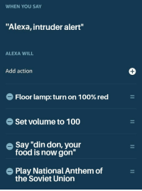 "Food, National Anthem, and Soviet: WHEN YOU SAY  ""Alexa, intruder alert""  ALEXA WILL  Add action  Floor lamp: turn on 1 00% red  Set volume to 1 00  e Say ""din don, your  food is now gon""  Play National Anthem of  the Soviet Union Alexa, starve my people"