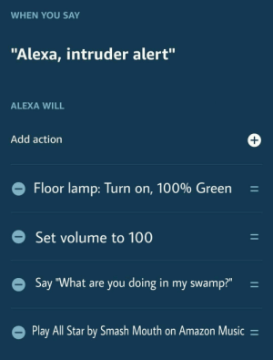 "me irl: WHEN YOU SAY  ""Alexa, intruder alert""  ALEXA WILL  Add action  +  Floor lamp: Turn on, 100% Green  Set volume to 100  Say ""What are you doing in my swamp?""  Play All Star by Smash Mouth on Amazon Music =  11  11  11 me irl"