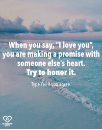 "Love, Memes, and I Love You: When you say ""I love you'  you are making a promise with  someone else's heart.  Try to honor it.  Type Yes if you agree.  RQ  RELAT  QUO  TE"