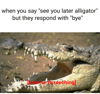 """see you later alligator: when you say """"see you later alligator""""  but they respond with """"bye""""  Intense Screechingl"""