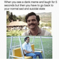 Dank, Meme, and Memes: When you see a dank meme and for 5  seconds but then you have to go back to  your normal sad and suicidal state Wait me