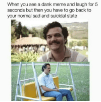 """Dank, Meme, and Memes: When you see a dank meme and laugh for 5  seconds but then you have to go back to  your normal sad and suicidal state <p>And then you see another dank meme via /r/memes <a href=""""http://ift.tt/2CyzJkq"""">http://ift.tt/2CyzJkq</a></p>"""