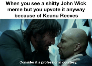 Dank, John Wick, and Meme: When you see a shitty John Wick  meme but you upvote it anyway  because of Keanu Reeves  Consider it a professional courtesy. Honor among memes by Franccthespancc MORE MEMES