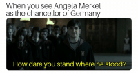 Germany, Dank Memes, and Angela Merkel: When you see Angela Merkel  as the chancellor of Germany  How dare you stand where he stood?