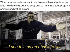 How, Idea, and Code: When you see code on stack overflow and have absolutely no  idea how it works but you copy and paste it into your program  anyway and get no errors  / see this as an absolute: win Every program I make in a nutshell