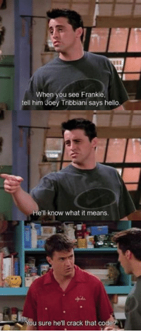 joey: When you see Frankie,  tell him Joey Tribbiani says hello,  He'll know what it means.  You sure he'll crack that codeA