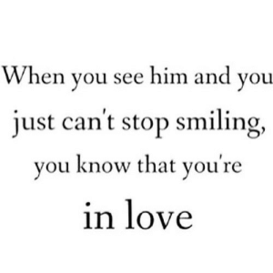 Love, Net, and Him: When you see him and you  just can't stop smiling,  vou know that vou're  in love https://iglovequotes.net/