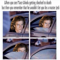Mace Windu, Star Wars, and Death: When you see Mace Windu getting shocked to death  but then you remember that he wouldn't let woube a master ledi  Ben SOLO Credit: Ben Solo