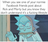 Normie: When you see one of your normie  Facebook friends post about  Rick and Morty but you know they  don't  understand it's a fucking lifestyle