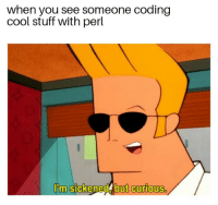 Johnny Bravo, Memes, and Bravo: when you see someone coding  cool stuff with perl  I'm sickened, but curious
