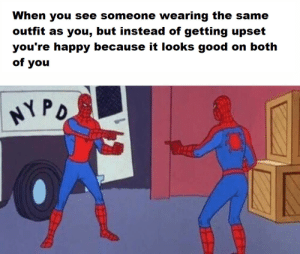 Your wholesome neighborhood Spider-Man: When you see someone wearing the same  outfit as you, but instead of getting upset  you're happy because it looks good on both  of you  PD Your wholesome neighborhood Spider-Man