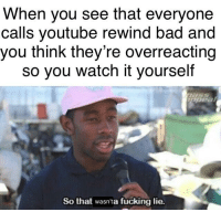 Bad, Fucking, and Trash: When you see that everyone  calls youtube rewind bad and  you think they're overreacting  so you watch it yourself  So that wasnta fucking lie. I lost 50% of my brain cells watching that trash