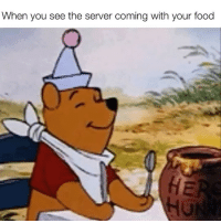 Food, Funny, and Yummy: When you see the server coming with your food Yummy yummy in my tummy tummy😋
