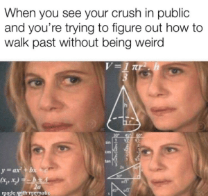 Being Weird, Crush, and Weird: When you see your crush in public  and you're trying to figure out how to  walk past without being weird  h  45 60  sin  cos  2x  y=ax+bc  30  (xy,)hEA  2a  made with menmatic  S1/73/7313 Intense strategizing