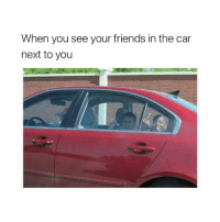 Friends, Girl Memes, and Car: When you see your friends in the car  next to you 🖕🖕🖕