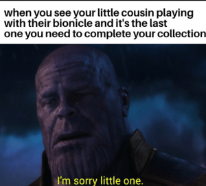 Dank, Meme, and Memes: when you see your little cousin playing  with their bionicle and it's the last  one you need to complete your collection  I'm sorry little one. Like to instantly upvote this meme by supahitfiya MORE MEMES