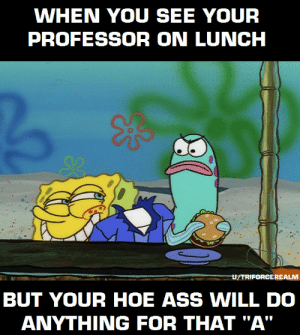 """Ass, College, and Hoe: WHEN YOU SEE YOUR  PROFESSOR ON LUNCH  U/TRIFORCEREALM  BUT YOUR HOE ASS WILL DO  ANYTHING FOR THAT """"A"""" College lunch time"""