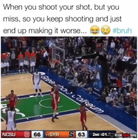 Outrageous. 😂: When you shoot your shot, but you  miss, so you keep shooting and just  end up making it worse #bruh  24  NCSU 66 1SYR  S 632  2ND :01BreakDaily Outrageous. 😂