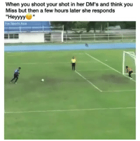 """Funny, Sports, and Fox: When you shoot your shot in her DM's and think you  Miss but then a few hours later she responds  """"Heyyyy  Fox Sports Asia 💪🏾💪🏾"""
