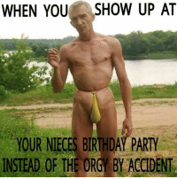 Party Meme: WHEN YOU  SHOW UP AT  YOUR NIECES BIRTHDAT PARTY  INSTEAD OF THE ORG BY ACCIDENT