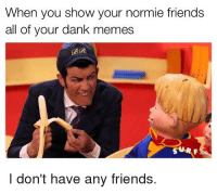 When you show your normie friends  all of your dank memes  I don't have any friends.