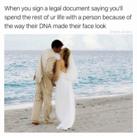 Funny, Life, and Death: When you sign a legal document saying you'll  spend the rest of ur life with a person because of  the way their DNA made their face look  @tank.sinatra Til death