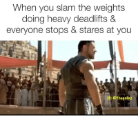 Memes, 🤖, and Slam: When you slam the weights  doing heavy deadlifts &  everyone stops & stares at you  1C: @thegainz ⚔️ deadlifts