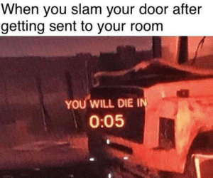 Memes, 🤖, and Will: When you slam your door after  getting sent to your room  YOU WILL DIE I  0:05