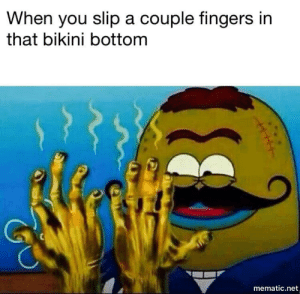 What rhymes with sodom: When you slip a couple fingers in  that bikini bottom  mematic.net What rhymes with sodom