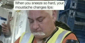 You, Moustache, and When You: When you sneeze so hard, your  moustache changes lips: