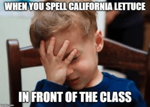 California, Com, and Class: WHEN YOU SPELL CALIFORNIA LETTUCE  IN FRONT OF THE CLASS  imgfip.com bro he must be stupid bro