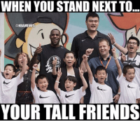 Friends, Nba, and Next: WHEN YOU STAND NEXT TO  @NBAMEMES  YOUR TALL FRIENDS Standing next to your tall friends like...