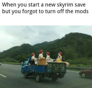 ….: When you start a new skyrim save  but you forgot to turn off the mods ….