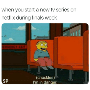 New Tv: when you start a new tv series on  netflix during finals week  (chuckles)  I'm in danger  SP
