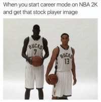 Memes, Nba, and Image: When you start career mode on NBA 2K  and get that stock player image  Bucks  BUCr. Nooo they did Thon wrong 😭😭 - Follow @dirtystepbacks for more