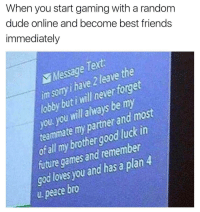 "Dude, Friends, and Future: When you start gaming with a random  dude online and become best friends  immediately  Message  im sory i have 2 leave the  lobby but i will never forget  you you twill always be my  teaminate my partner and most  o all my brother good luck in  future games and remember  god loves you and has a plan 4  u. peace bro <p>Never forget your gaming partner. via /r/wholesomememes <a href=""http://ift.tt/2DVmThv"">http://ift.tt/2DVmThv</a></p>"