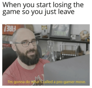 Gaming Dump: When you start losing the  game so you just leave  THIN  I'm gonna do hat's called a pro-gamer move. Gaming Dump
